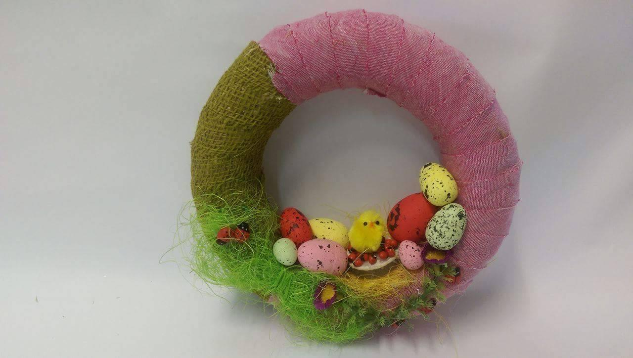 Coronita de Paste cu roz si verde