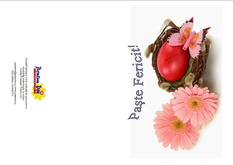 Felicitare de Paste tiparita - cosulet cu ou rosu