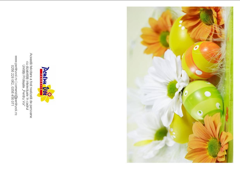 Felicitare de Paste tiparita cu flori albe