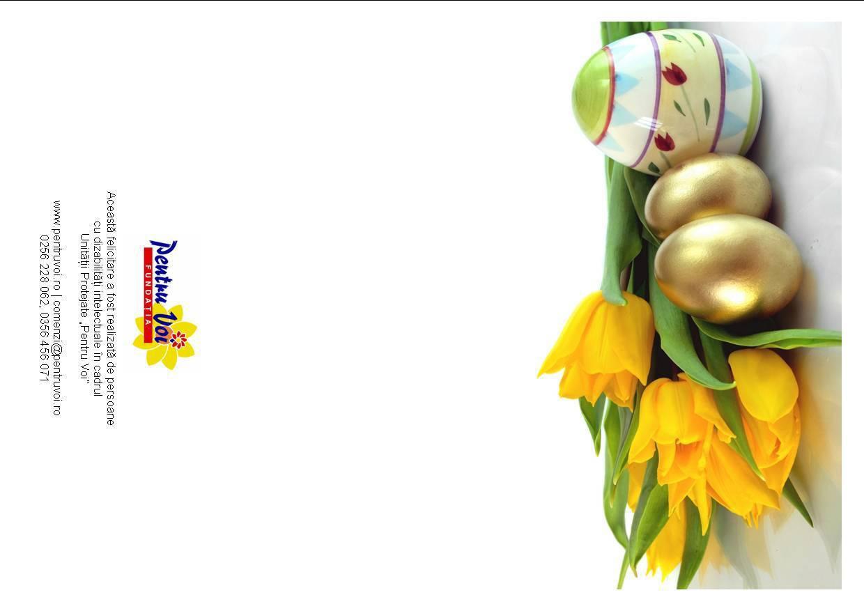 Felicitare de Paste tiparita cu lalele si oua aurii