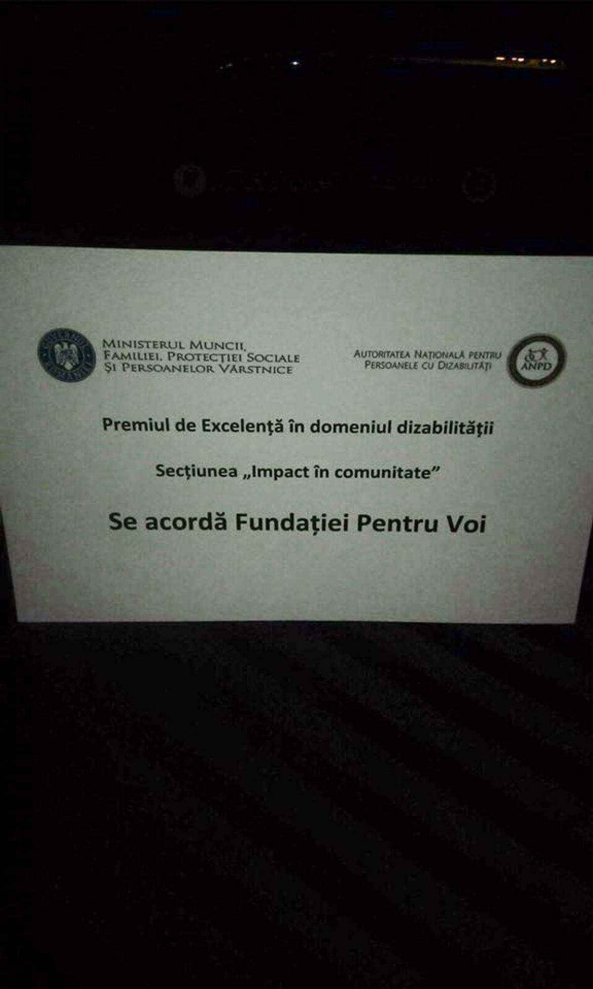 Fundatia Pentru Voi a castigat competitia pentru primul Premiu de Excelenta in domeniul dizabilitatii! - 003